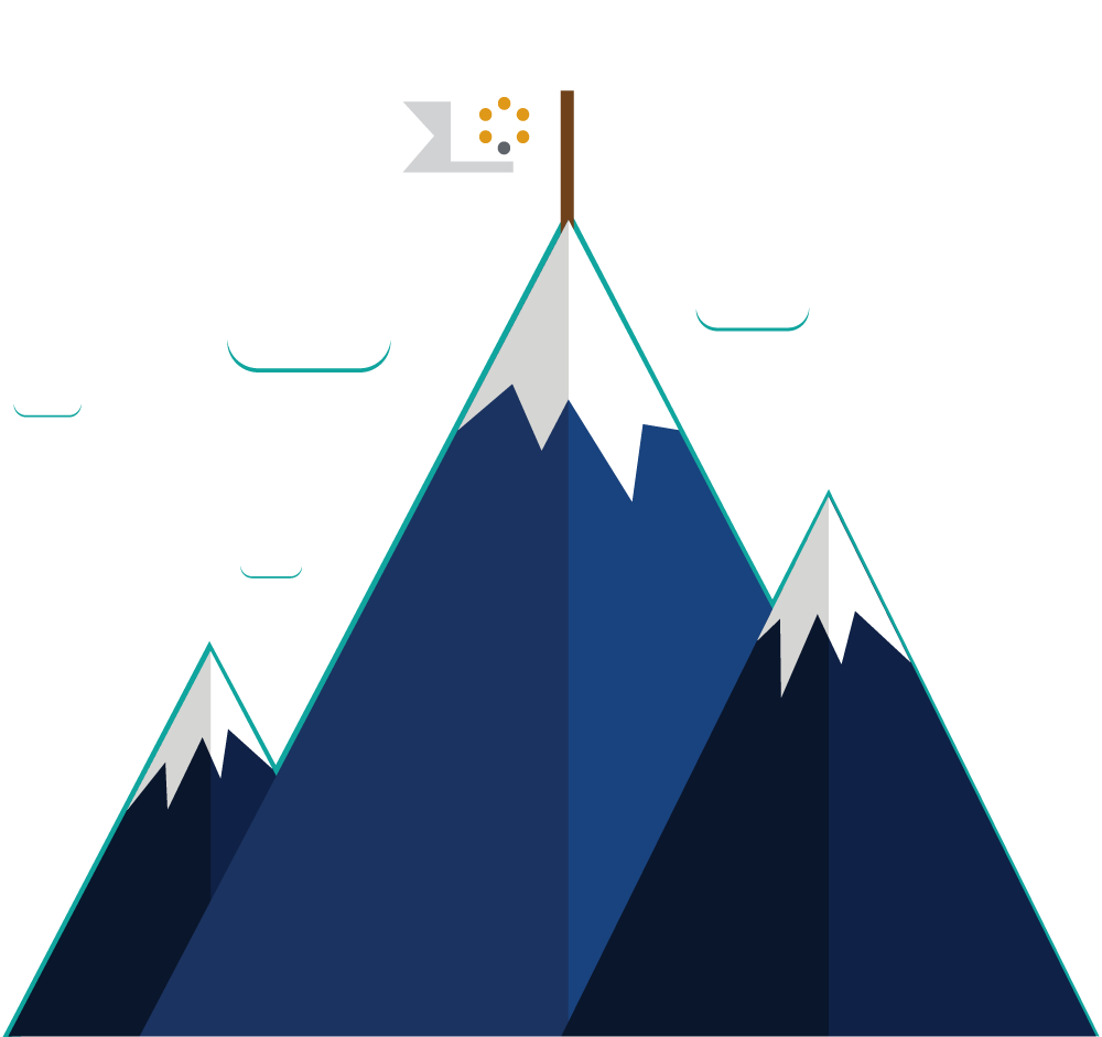 Mountains with Agilec flag on peak
